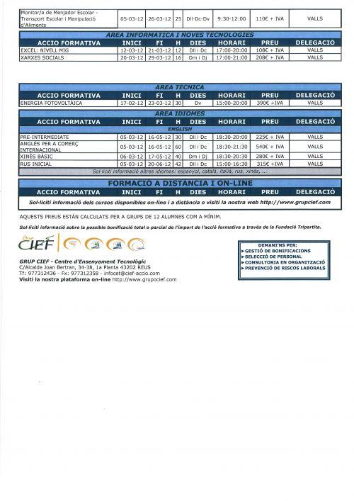 ACCIONS FORMATIVES - Quadrimetre 2012